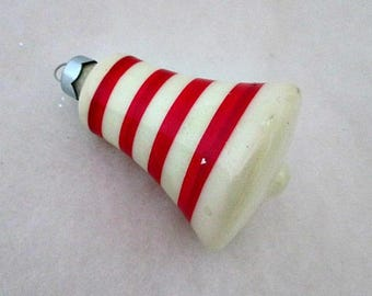 Vintage Bell Christmas Glass Ornament Decoration  - Red and White Stripe Bell Ornament - Made in USA