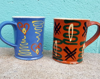 Vintage Pair of Coordinating Pottery Handmade Mugs Blue and Red Coffee Tea