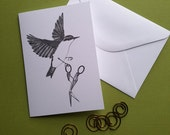 nuthatch absconds with a pair of crane scissors greeting card note card