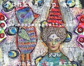 Bird Painting,Bird Canvas,Altered Art,Lady Portrait,Outsider Art, Mixed Media Canvas,Collage Art,Outsider Art,Mixed Media Collage,Naive Art