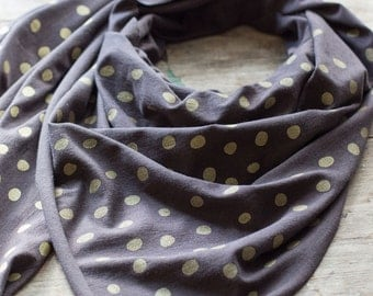 Super soft, charcoal grey bamboo-cotton scarf with hand-printed gold Raindrops pattern. Metallic, gold, gift, polka dots, neutral, handmade