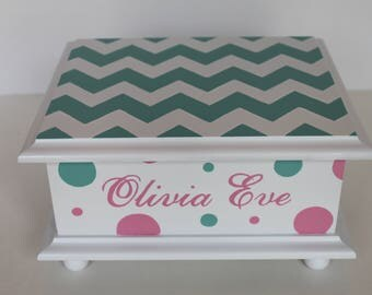 Chevron and polka dots - Baby Keepsake Memory Box personalized baby gift hand painted