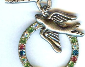 Beautiful Antique Silver Fancy Toggle Clasp with Dove & Multicolor Rhinestones 35mm 1 set