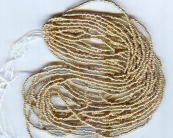 13/0 Czech Charlotte Metallic Gold Seed Beads Full Hank 14 Grams