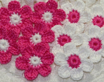 Crochet Flower Applique Embellishment  Two Tone in Single Layer- ROSE PINK/WHITE - 10 Pcs