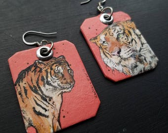 Hot Pink Tiger - hand-painted big cat charm earrings