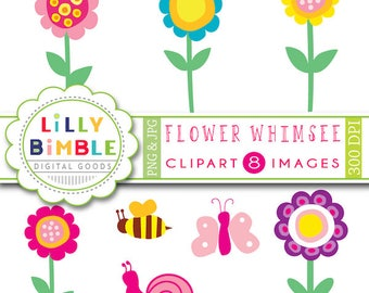 80% off Whimsical flowers clipart for cards, invites, snail bumblebee, clip art, Flower Whimsee, INSTANT DOWNLOAD