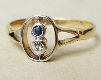 Art Deco Sapphire & Diamond Oval Setting Ring, Sapphire, Diamond and 18k Gold Ring, Approximate Size US 7.25