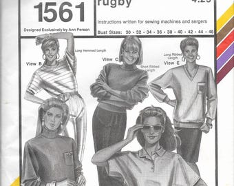 Stretch & Sew Misses' Action Sleeve Rugby Pattern 1561