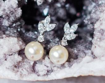 Drop Pearl and Crystal Wedding Earrings, Hetty