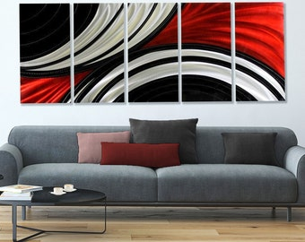 Huge Multi Panel Metal Wall Art In Red, Black & Silver, Modern Metal Wall Sculpture, Home and Office -  Feverish Perception XL by Jon Allen