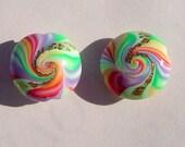 Rainbow Swirl Lentil Handmade Artisan Polymer Clay Lentil Bead Pair