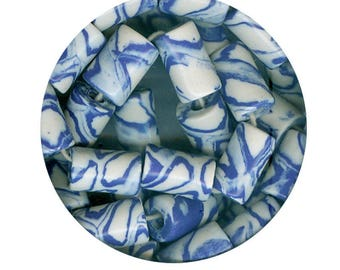 Alpine Ride - Handmade Ceramic Porcelain Nerikomi Style Beads, Made in America: 8 Marbled Blue & White Fat Tubes Large Hole