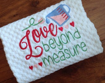 White waffle kitchen Towel/Machine embroidered/Love Beyond Measure