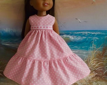 14 and 14.5 Inch Doll Clothes Dress Romantic Pink and White Dots Ruffle Medley Fits dolls like H4H and Wellie Wishers