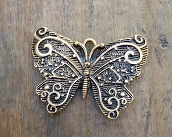 Antiqued Brass Butterfly Bracelet