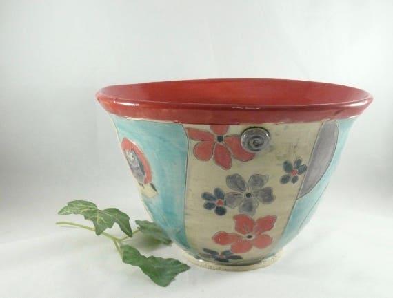 Large Red Ceramic Kitchen Serving Bowl, Pasta Serving Bowl, Wedding Gift woodland  design pottery and ceramics Salad Bowl for Home Decor 762