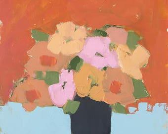 flower painting orange and blue art impressionistic painting of flowers original painting pamela munger