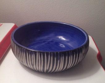 Modern porcelain Bowl blue black white