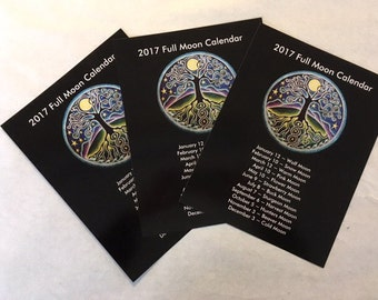 2017 Full Moon Calendar Poster with Tree of Life Full moon Mandala