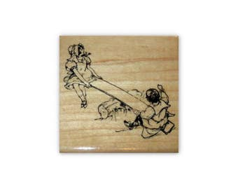 Children on Seesaw mounted rubber stamp, kids, summer fun, old fashioned, vintage style, days gone by, Crazy Mountain Stamps #1