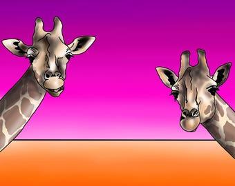 Giraffes - colourful abstract fine art print by Amanda Hone