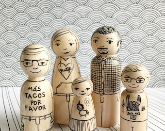 Monochrome Peg Dolls - Family, Missionary, or anything you like!