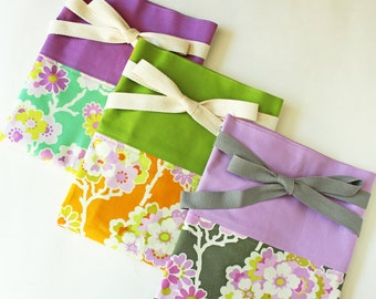 Reversible apron spring floral, green, purple, lavender, orange, floral apron, flower apron, kitchen, hostess gift, pretty apron