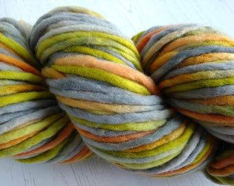 Super Chunky Merino Yarn - Hand Dyed Yarn - Bulky Knitting Yarn - Merino Wool Yarn - Hand Painted Bulky Yarn - Grey, Olive, Orange - 200g