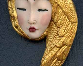 OOAK Polymer Clay Asian  Face with Golden Wing  Art Nouveau    JAWG  1
