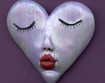 "Polymer Clay Kissing Heart 2"" x 2""  Purple Pearl  Art Doll  Face  Cab  HRTP 1"