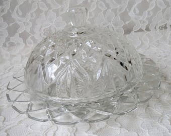Vintage Round Clear Pressed Glass Butter Dish, Cheese Server with Dome Cloche Lid Faceted Handle