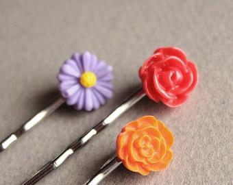 Silver Bobby Pins - Flowers - Red, Orange, Purple - Set of Three