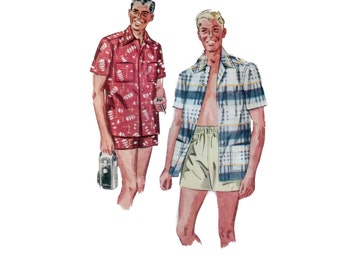 50s Mens Swim Trunks pattern waist 32-34 Medium Mens Sport Shirt pattern Mens Shorts simplicity 4696