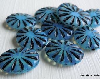 Czech Glass Beads,  Pressed Oval Beads 13mm Milky Powder Blue Jet (G - 687)