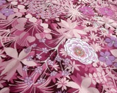 Vintage Fabric - Italian Garden - vibrant pink and purple flowery cotton -Pat Albeck design for Osman - a  fabric fat quarter
