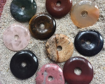 Gemstone Donut Pendant huge 50mm size choose from available gemstones crystal healing