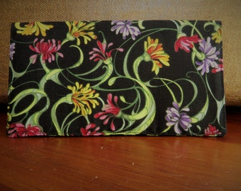 Checkbook Cover Top Tear Cotton Cloth Black with Flowers Design Ready To Ship