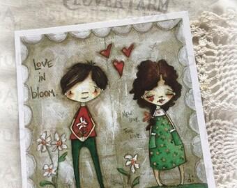 New!  STUDIO DUDA ART mini print/frameable greeting card  on velvety bright paper - Love in Bloom  - 5.25x5.25 print