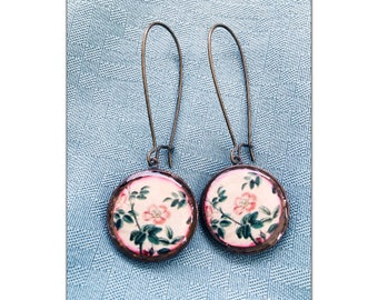 Vintage Rose Illistration Penny Earrings recycled eco friendly - Lucky penny earrings - coin earrings jewelry - copper - Mothers Day