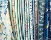 Blue Kimono Scraps, Vintage Kimono Fabric Grab Bag Most Silk, 23 Pieces of Asian Textile Craft Supply
