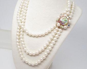 Vintage 3 Strand Faux Pearls Park LaneAurora Borealis Crystal Focal Clasp