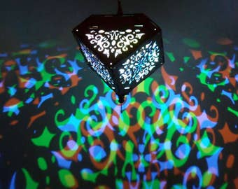 Spiral Damask LED cube prism lantern
