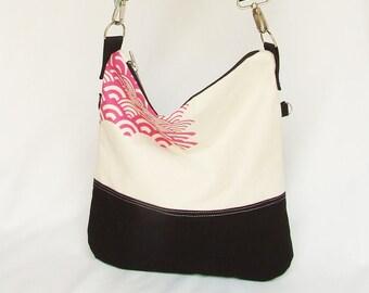 Japan Waves Canvas Tote for Woman , Foldover Bag, Crossbody Bag , ScreenPrint