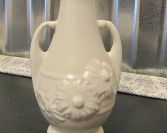 Vintage Little Petite Pottery Bud Vase Creamy White Color USA marked on the bottom
