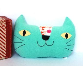 Cat Pillow, Nursery Decor, Kids Pillow, Cat Cushion, Kawaii Cat, Plush Cat Softie