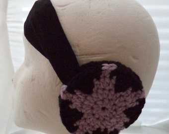 Crocheted Earmuffs Headband - Amethyst Star (SWG-HH-GGSUAM01)