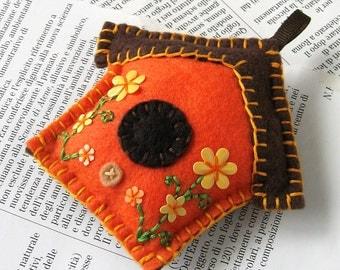 Little felt birdhouse Christmas tree ornament in orange
