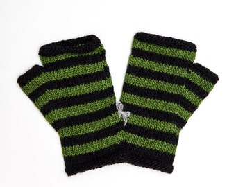 Striped Black and Green Fingerless Mitts, Hand Knitted Wool Fingerless Gloves, Knitwear, Fall and Winter Fashion