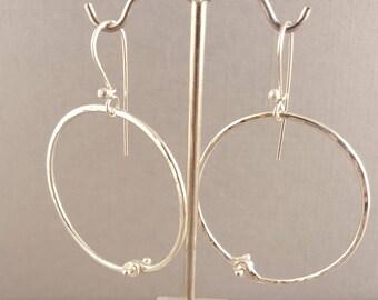 Riveted Hoop Earrings Shiny Sterling Silver